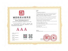 诚信经营示范单位企业证书